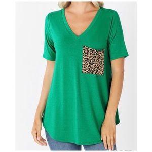 NEW Leopard print pocket shirt in green